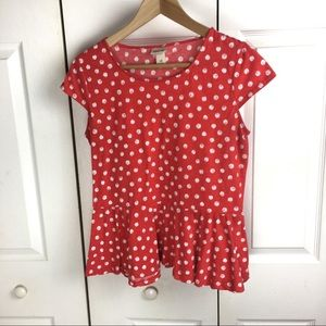 Mossimo Bright RedOrange polka dot peplum knit top